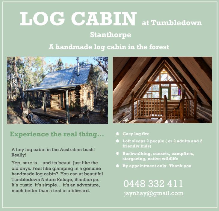 tumbledown log cabin